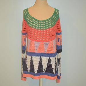 Free People Modern Art Colorful Sweater